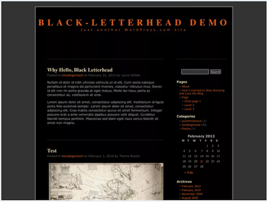 Black Letterhead theme