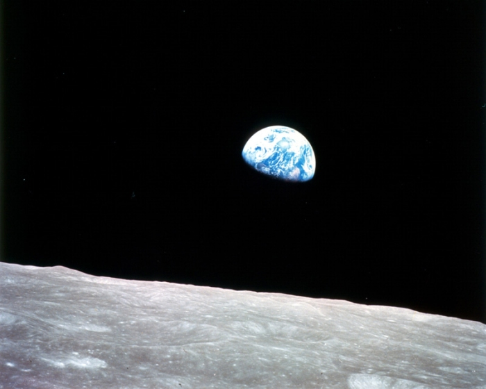 """Earthrise"" -- Photo taken by the Apollo 8 crew in December 1968, showing Earth for the first time as it appears from deep space"