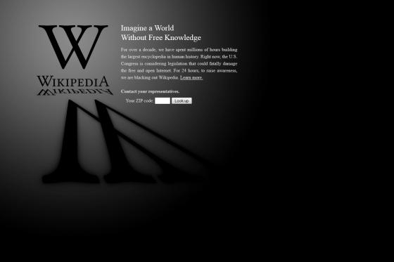 Wikipedia blackout page