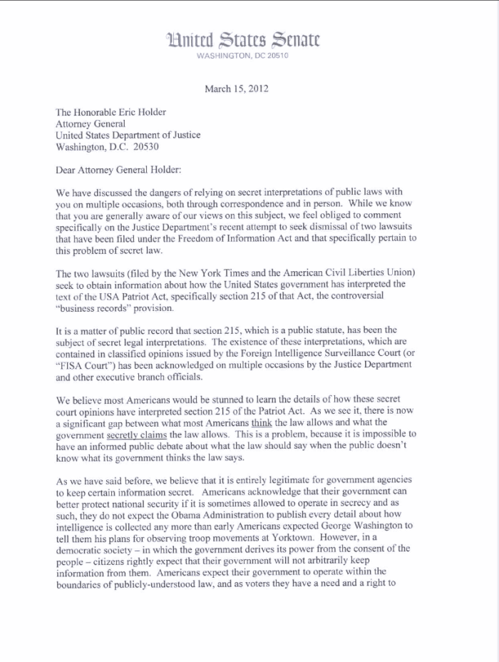 Wyden Udall letter to Holder about Patriot Act, page 1