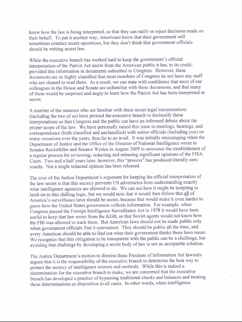 Wyden Udall letter to Holder about Patriot Act, page 2