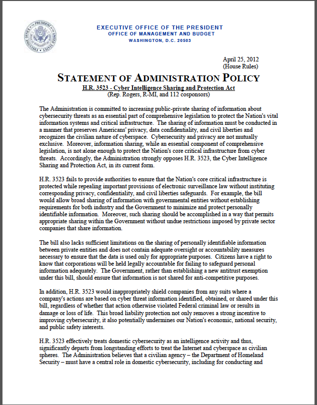 CISPA: Obama administration policy statement