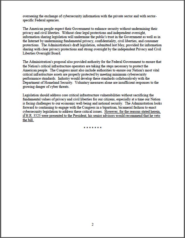 CISPA: Obama administration policy statement, Page 2