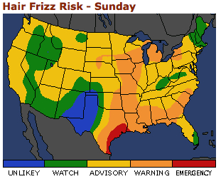 hair frizz risk map from AccuWeather