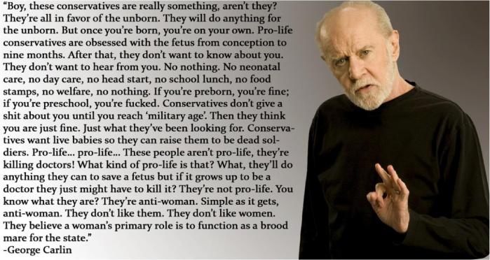 George Carlin, war on women