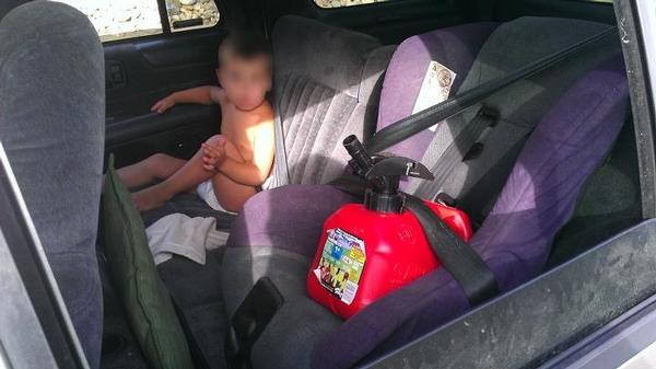 Gas can in car seat