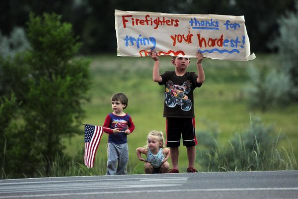 High Park Fire  -- kids support firefighters