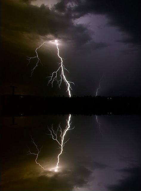 lightning reflected in water 2