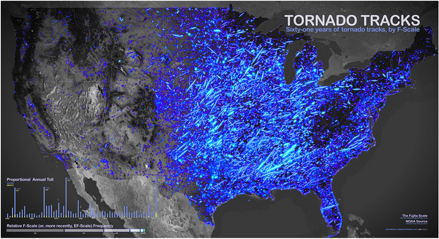 61 Years of Tornado Tracks