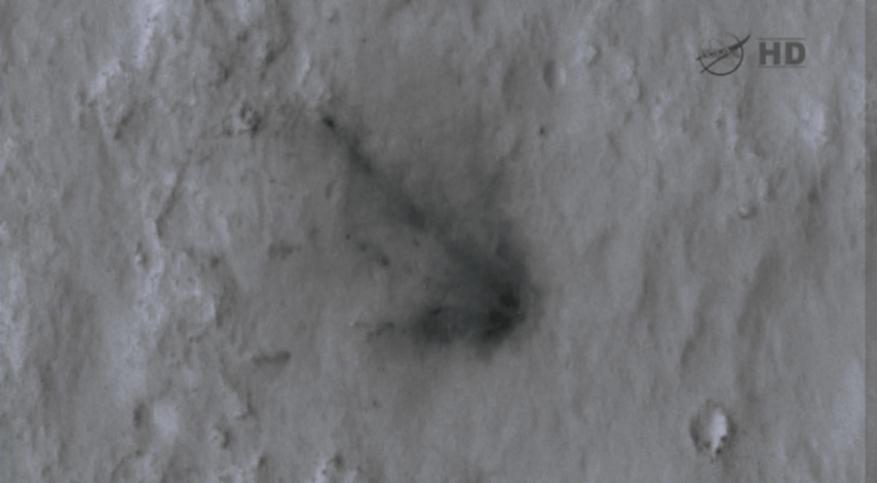Curiosity's sky crane on the Martian surface