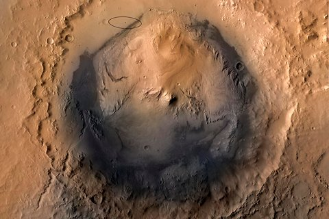 Gale Crater, Curiosity's target on Mars
