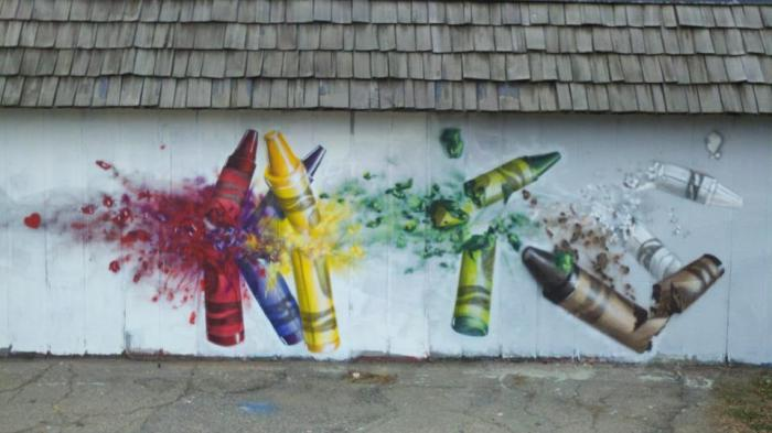 Gamma Acosta's mural 'Crayons' recalls the Sandy Hook school shooting (Photo: Gamma Gallery)