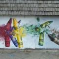 Gamma Acosta's mural 'Crayons' recalls the Sandy Hook school shooting (Photo: Gamma Gallery)