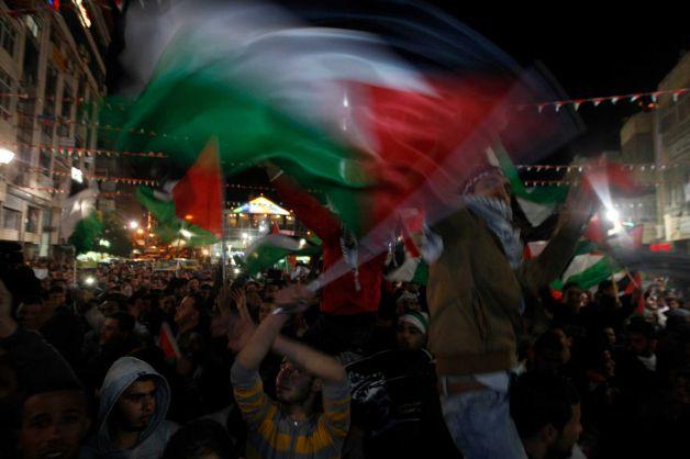 Palestinians celebrate their new UN status (AP Photo/Majdi Mohammed)