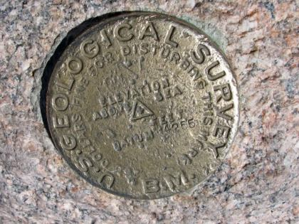 The USGS benchmark on the summit that I never saw
