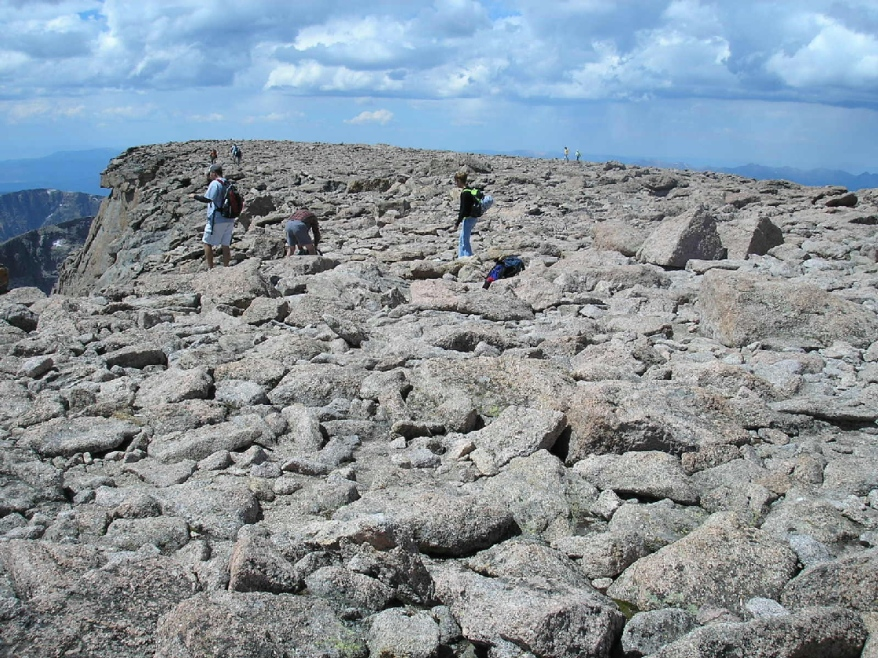 The broad, flat summit of Longs Peak