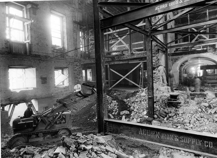 A bulldozer removing debris from the inside of the White House, during the renovation of the building. The bulldozer had to be taken apart and moved into the White House in pieces, as President Truman would not allow a hole large enough to fit the bulldozer to be cut into the walls of the White House. (Photo: National Archives)