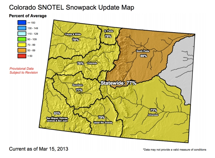 Colorado snowpack, March 2013