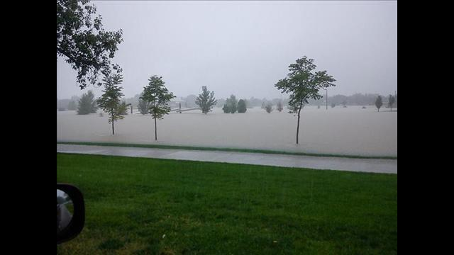 A flooded park in Aurora (southeast Denver)