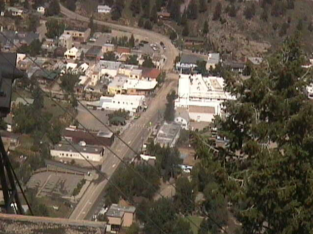 Downtown Estes Park as seen from the Tram Cam at noon today.