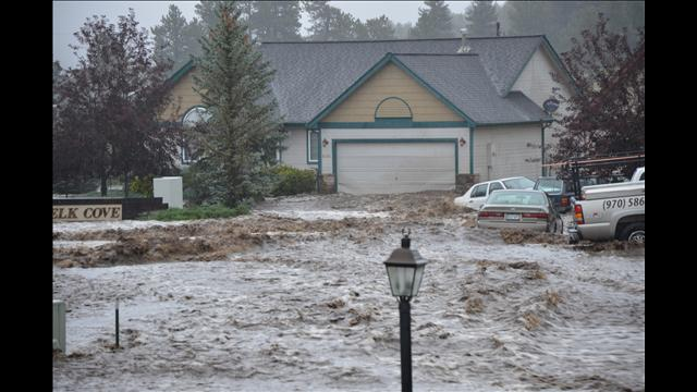 Flooding near Fish Creek Road in Estes Park, Colo.