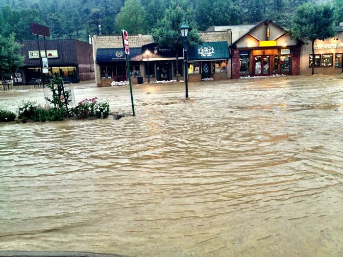 Flooding on Elkhorn Avenue, Estes Park, Colo.