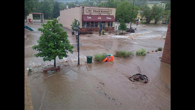 Flooding in downtown Lyons, Colo.