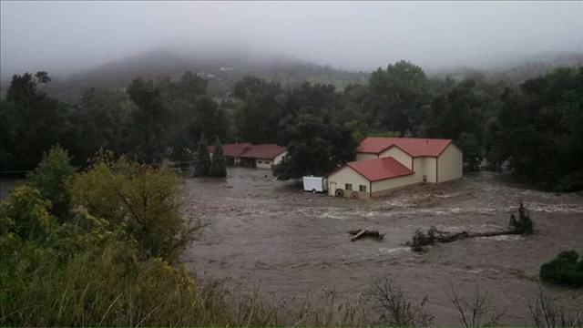 A flooded neighborhood in Lyons, Colo.