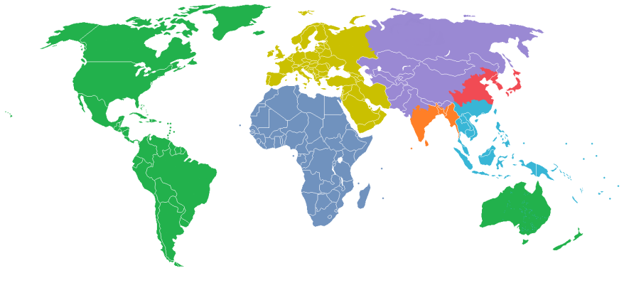 Maps-world divided into 7 zones with a billion people each