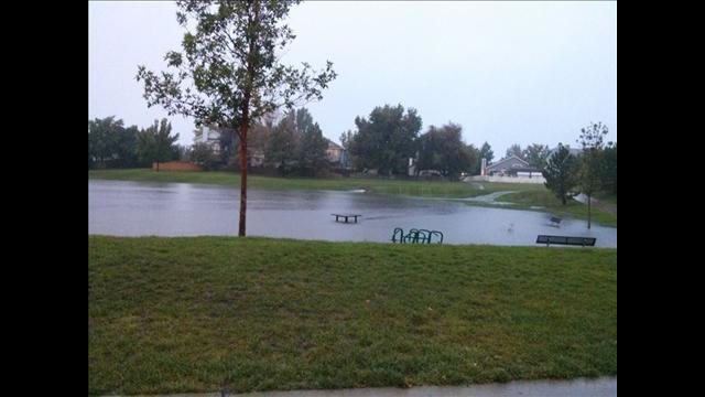 Flooding in Parkridge Park, Thornton, Colo.