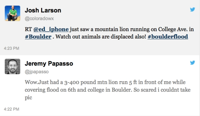 Unexpectedly tweets from the Boulder, Colo., flood