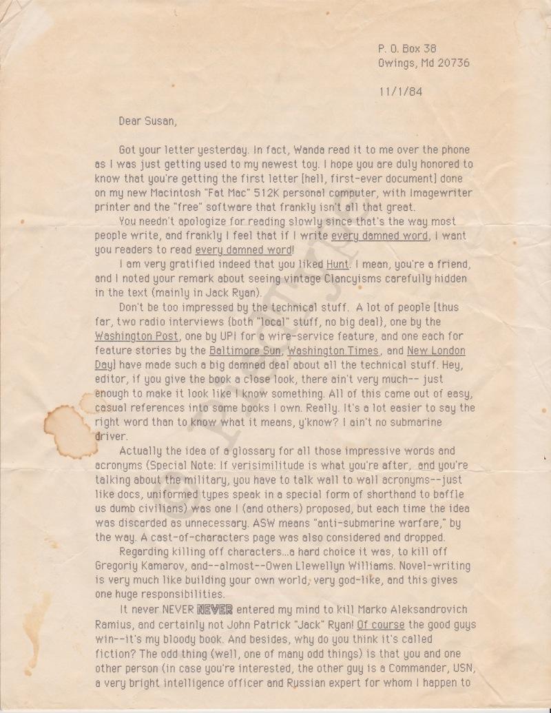 Tom Clancy letter, 1 Nov 1984, p 1