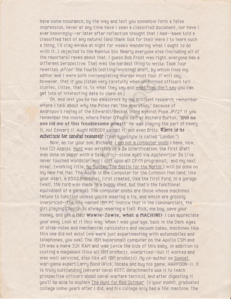Tom Clancy letter, 1 Nov 1984, p 2