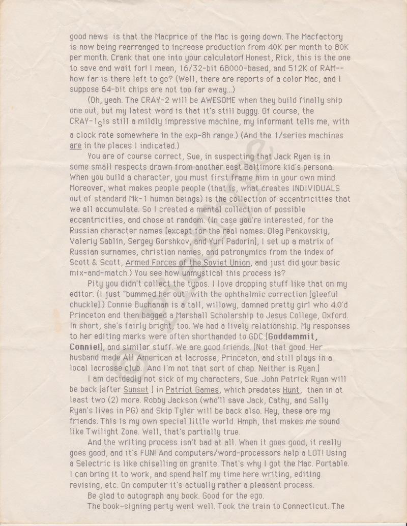 Tom Clancy letter, 1 Nov 1984, p 3