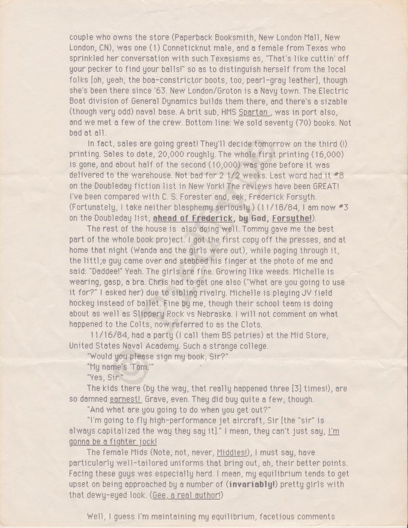 Tom Clancy letter, 1 Nov 1984, p 4