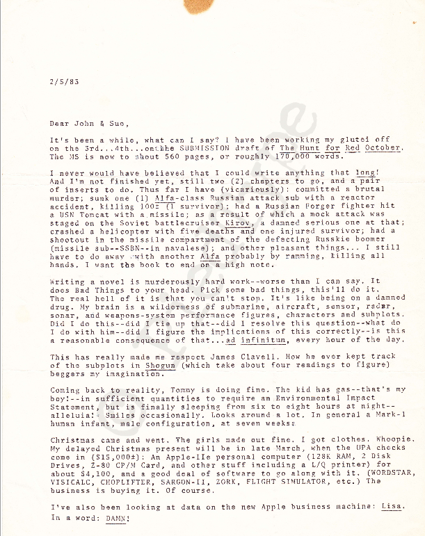 Tom Clancy letter, 5 Feb 1983, p 1