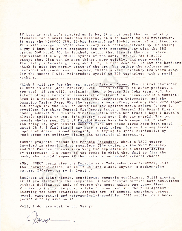 Tom Clancy letter, 5 Feb 1983, p 2