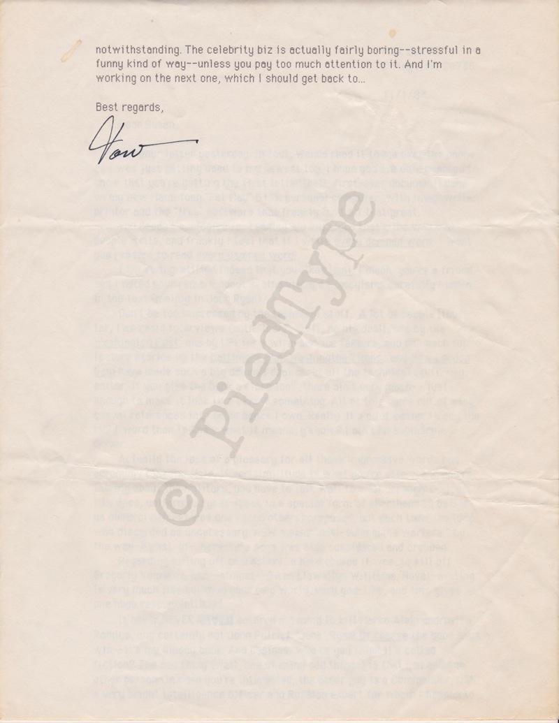 Tom Clancy letter, 1 Nov 1984, p 5
