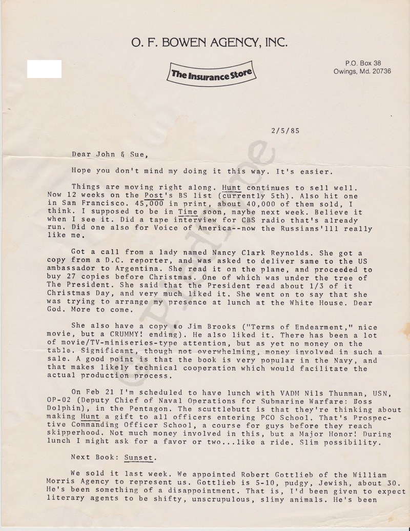 Tom Clancy letter, 5 Feb 1985, p 1