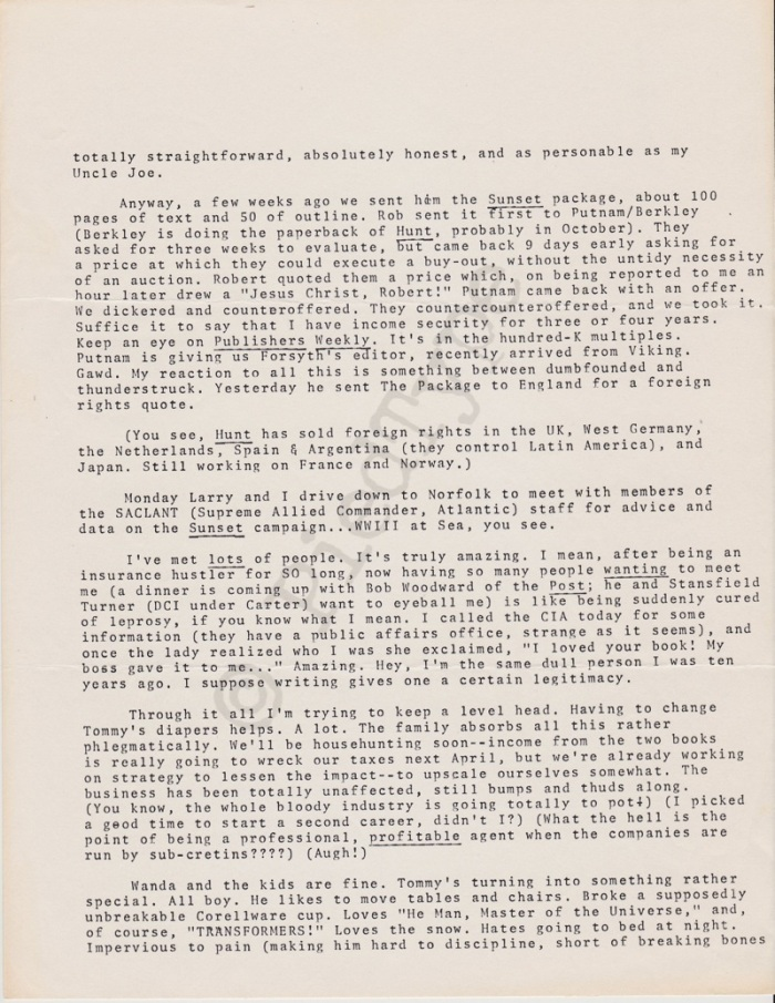Tom Clancy letter, 5 Feb 1985, p 2