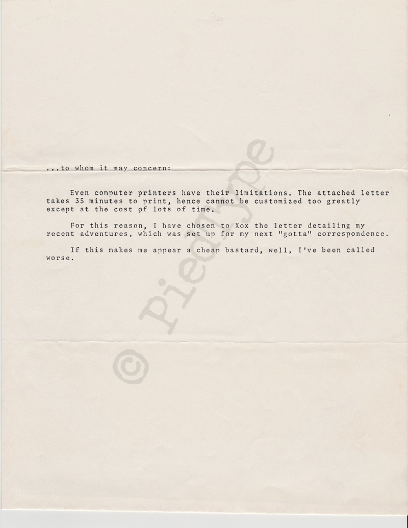 Tom Clancy letter, 8 March 1985, cover