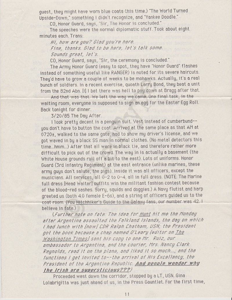 Tom Clancy letter, 8 March 1985, p 11