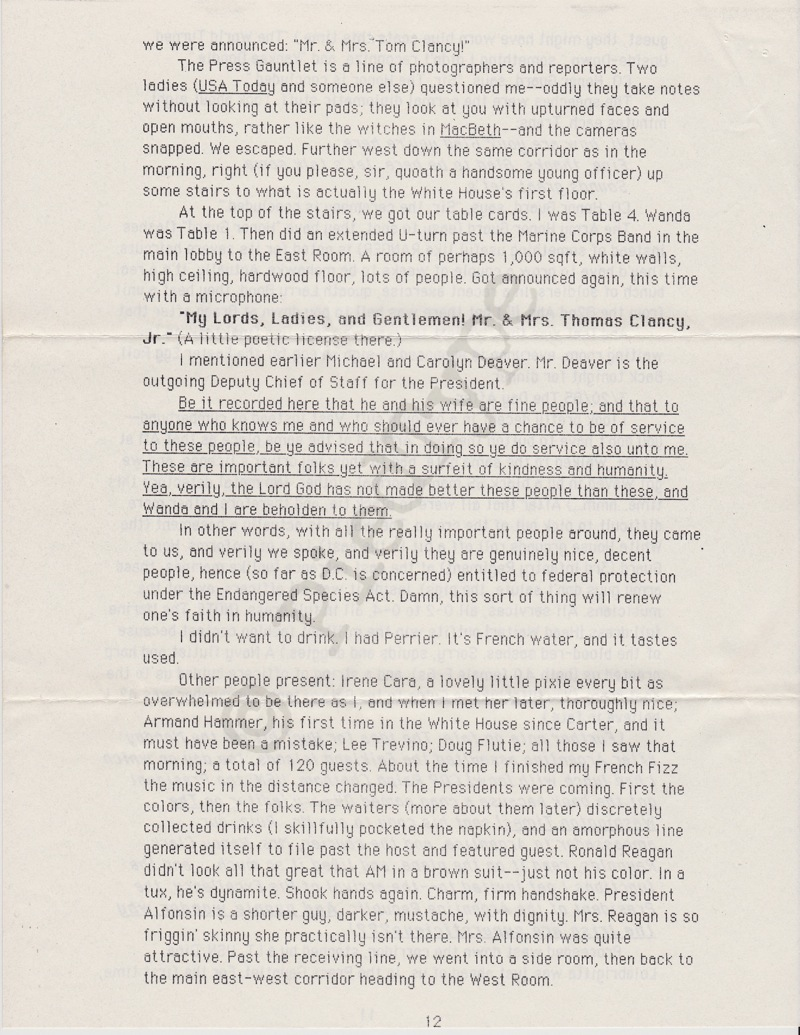 Tom Clancy letter, 8 March 1985, p 12