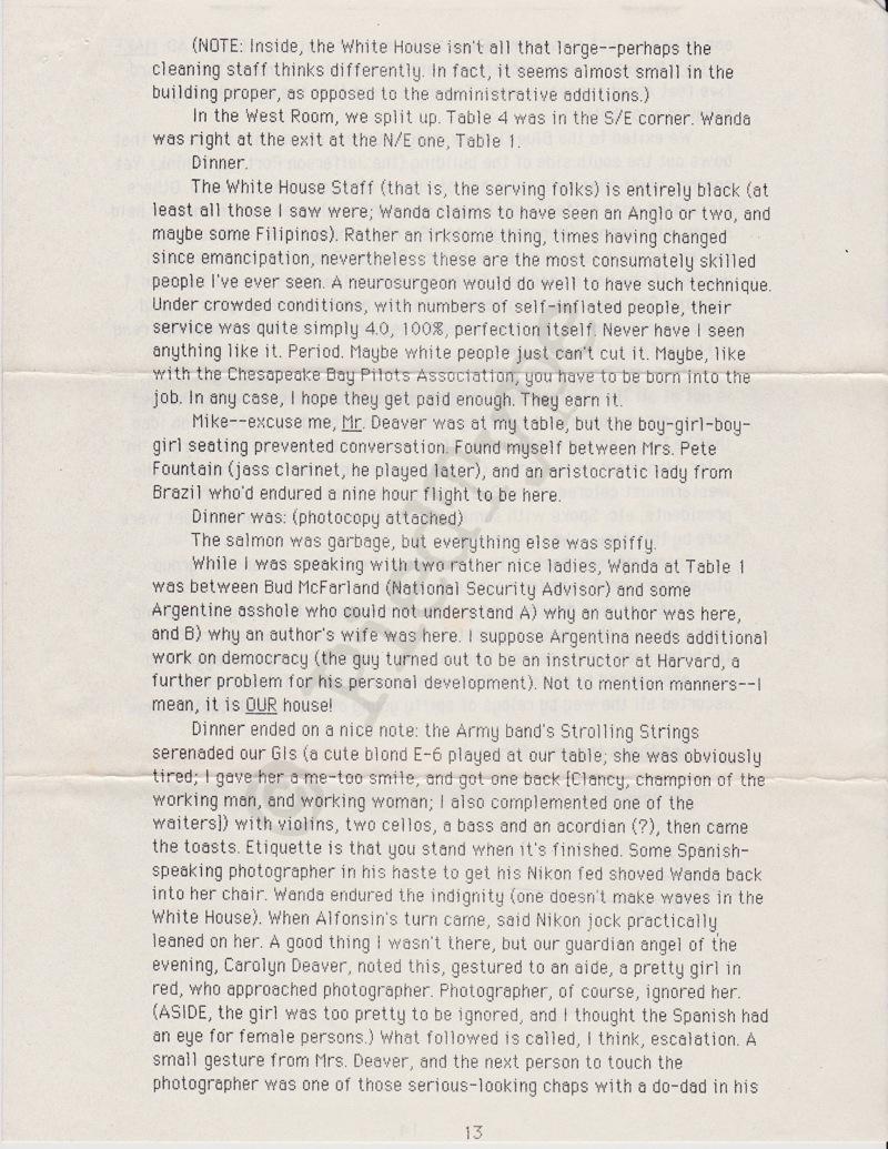 Tom Clancy letter, 8 March 1985, p 13
