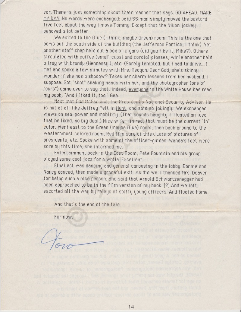 Tom Clancy letter, 8 March 1985, p 14