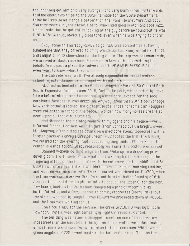 Tom Clancy letter, 8 March 1985, p 3