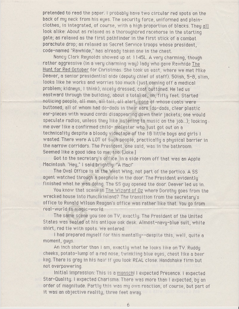 Tom Clancy letter, 8 March 1985, p 6