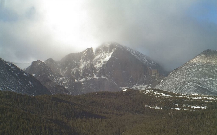 Screenshot from the Longs Peak, Colo., webcam