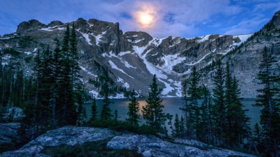 """""""Veiled Glory"""" by Erik Stensland, showing Lake Nokoni and Ptarmigan Mountain in Rocky Mountain National Park. Shot about an hour before sunrise on June 25, 2013."""