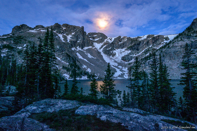 """Veiled Glory"" by Erik Stensland, showing Lake Nokoni and Ptarmigan Mountain in Rocky Mountain National Park. Shot about an hour before sunrise on June 25, 2013."